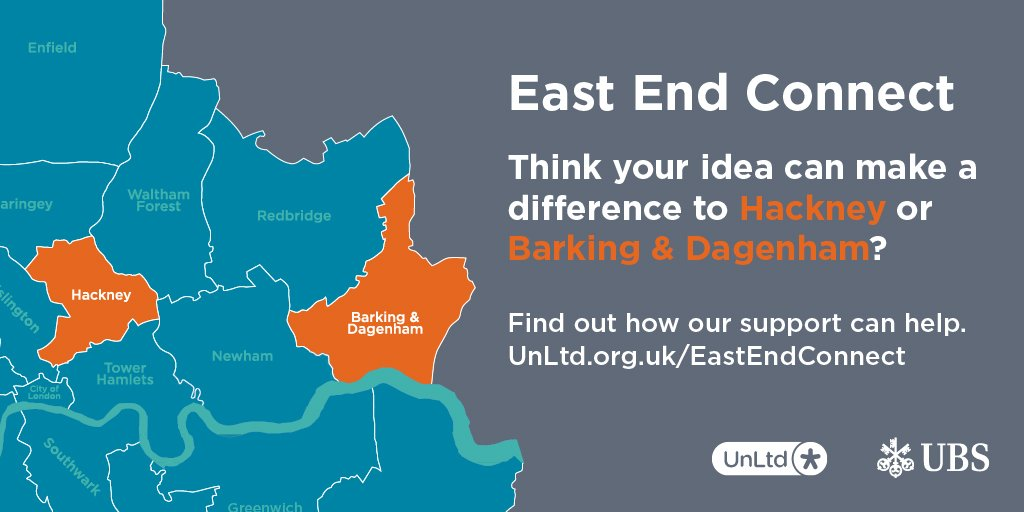 #EastEndConnect – @UnLtd and @UBS are seeking enterprising people to transform #Hackney, #Barking &amp; #Dagenham. Up to £5,000 and expert support available for #socialgood ideas:  https:// unltd.org.uk/east-end-conne ct/ &nbsp; …  #socialentrepreneurship &amp; #socialimpact in #EastLondon. #socent <br>http://pic.twitter.com/5aTb6OinqQ