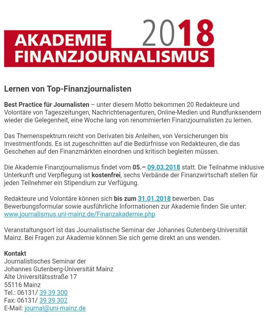 das bewerbungsformular sowie ausfhrliche informationen zur akademie finden sie unter httpwwwjournalismusuni mainzdefinanzakademiephp - Uni Mainz Bewerbung