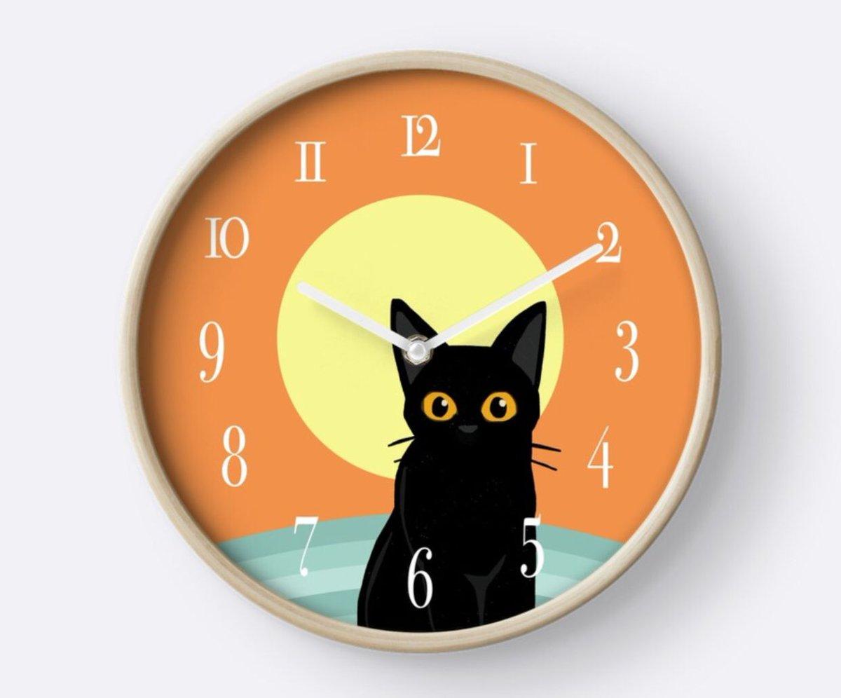 Wallclock hashtag on twitter sunset cat clock by batkei redbubble cat cats kitty feline illustration wall clock wallclock home amipublicfo Gallery