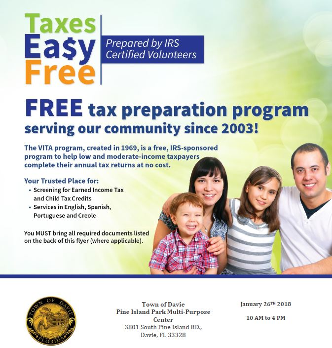 Free Tax Preparation Events For Davie Residents Who Need Help In Completing Their Annual Return