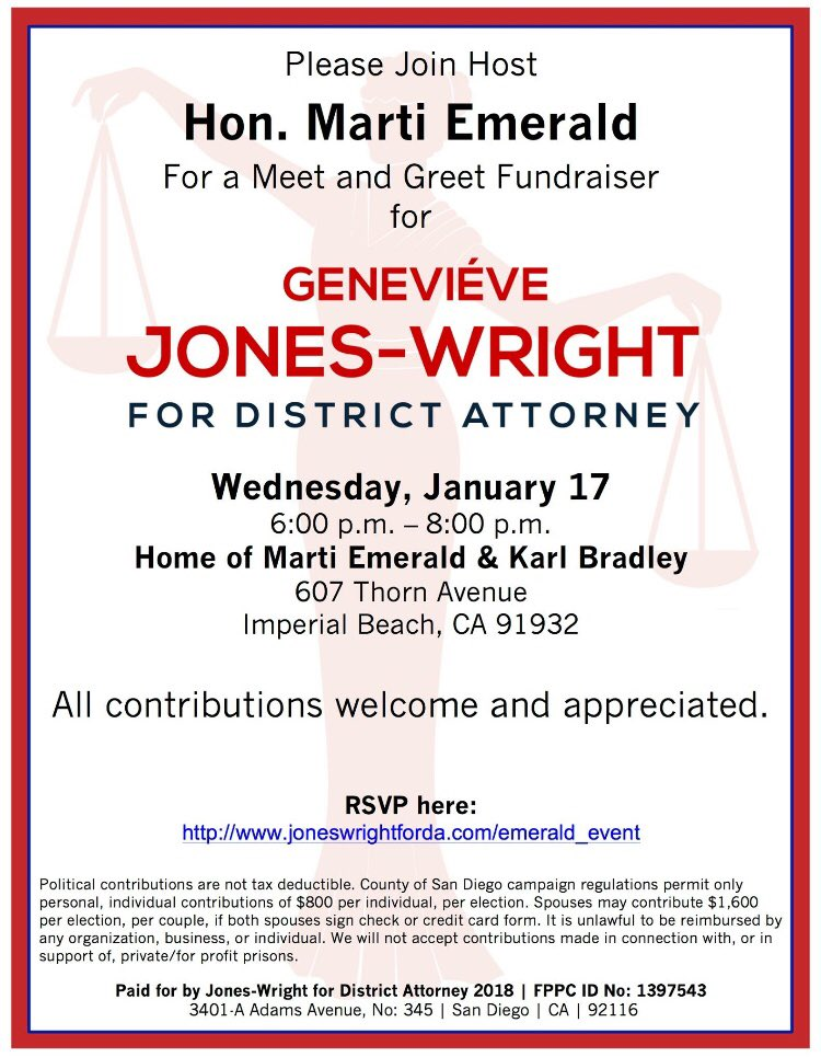 Genevive jones wright for da on twitter please join us for an you can rsvp via facebook or on our website i am looking forward to answering your questions discussing my vision for true justice for all of san diego m4hsunfo