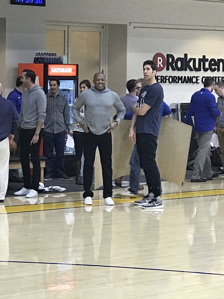 Image result for Dr. Dre and Jimmy Iovine attending today's Warriors practice.