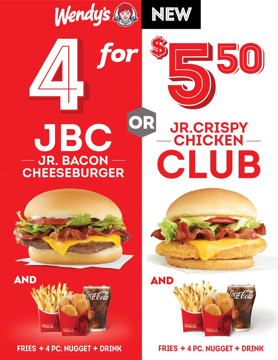 Wendy S Bahamas On Twitter Deals Do Exist Get Wendy S Brand New 4 For 5 50 Your Choice Of Either A Jr Bacon Cheeseburger Or Jr Crispy Club With Fries 4 Piece Nuggets
