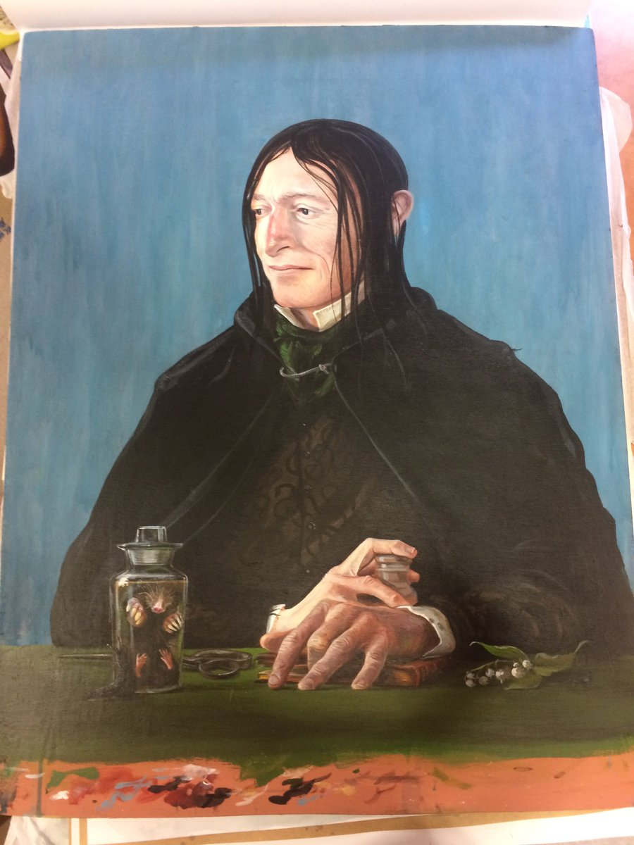 Happy birthday, Severus Snape! On loan from @BloomsburyBooks and drawn by the amazing Jim Kay, this portrait of the professor is on display in #BLHarryPotter. Can you guess what the lilies by his hands might represent?