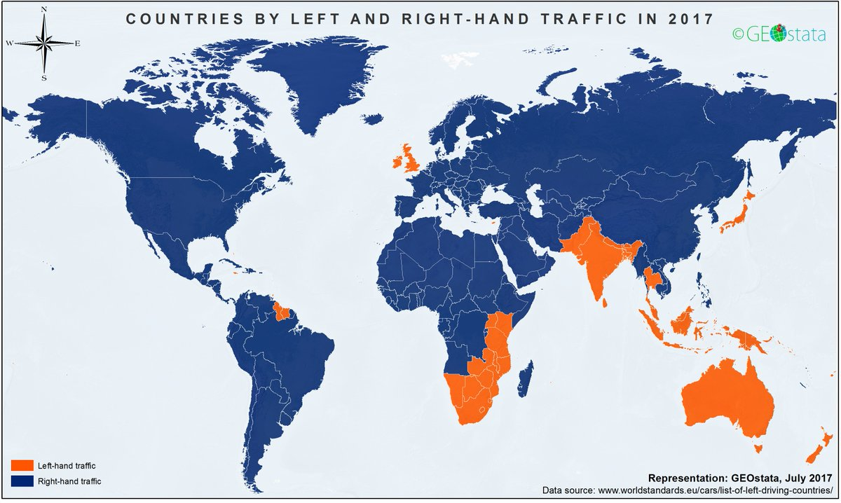 Onlmaps On Twitter Left And Right Hand Traffic Around The World