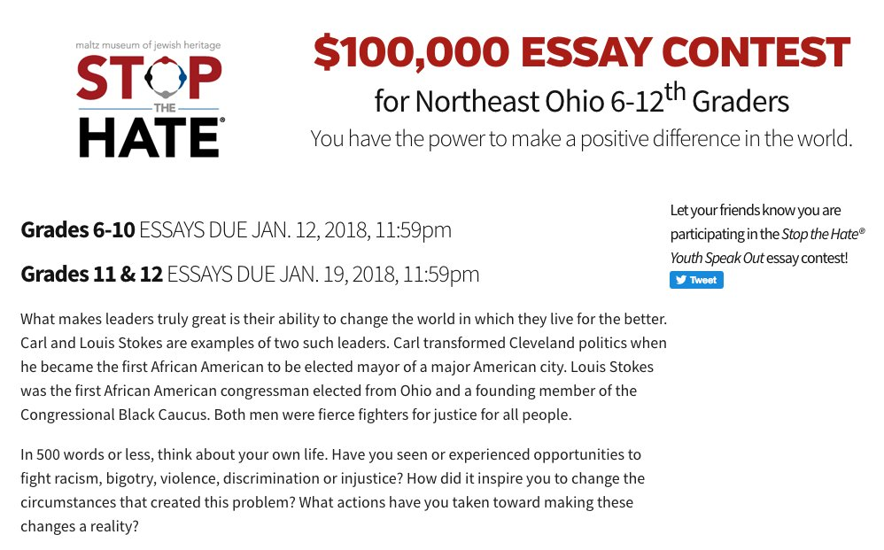 Essay Topics High School Winningwriterscom On Twitter Last Call For The  Stop The Hate  Youth Speak Out Essay Contest For Northeast Ohio Th Graders  How To Write A Thesis Paragraph For An Essay also Modern Science Essay Winningwriterscom On Twitter Last Call For The  Stop The  Essay Writing Topics For High School Students