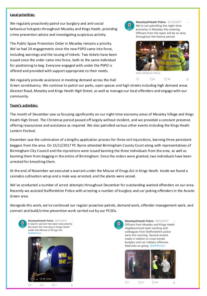 moseley kings heath police on twitter here s our latest newsletter giving information on what we ve been up to in the month of december