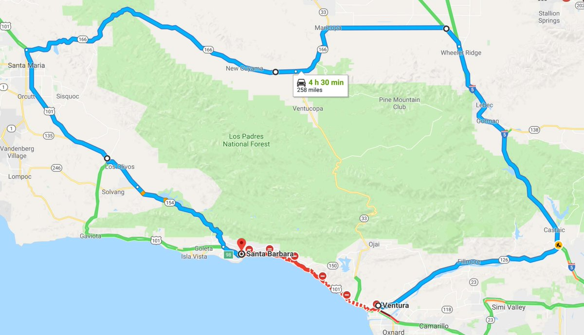 Drive From Ventura To Santa Barbara Is Normally 30 Mins 34 Miles If Hwy 150 Gets A Hard Closure The Shortest Route Looks Like This 4 5 Hrs 250