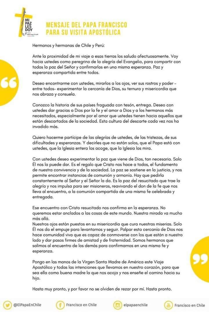 RT @TVCA_ElSalvador: Mensaje del #PapaFrancisco para su visita apostólica a Chile y Perú. https://t.co/zLzdXhsK3X