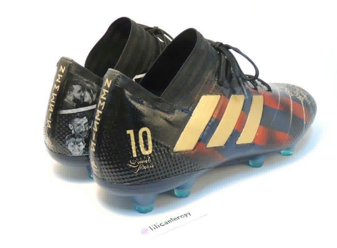 Una artista creó unos botines adidas para Messi basados en su vida