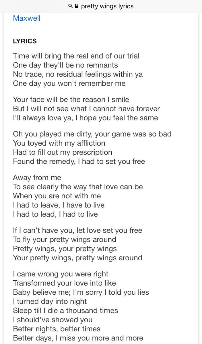 Sinead Harnett On Twitter Ever Realise How Deep The Lyrics To Pretty Wings Cut