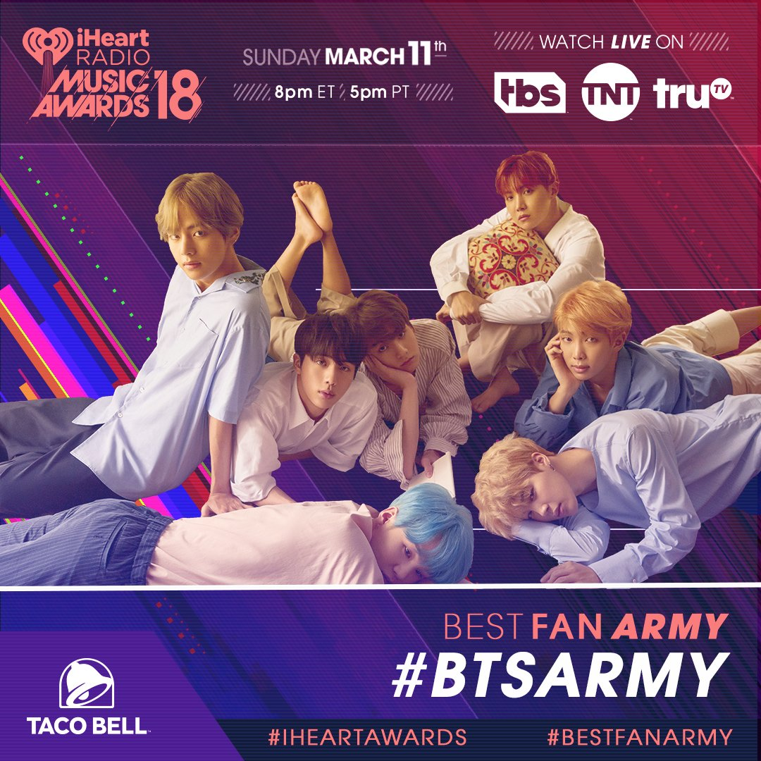 ATTN #BTSArmy! Y'all are nominated for #BestFanArmy at the 2018 #iHeartAwards! RT to vote! 🏆 @TacoBell #BTS @BTS_twt