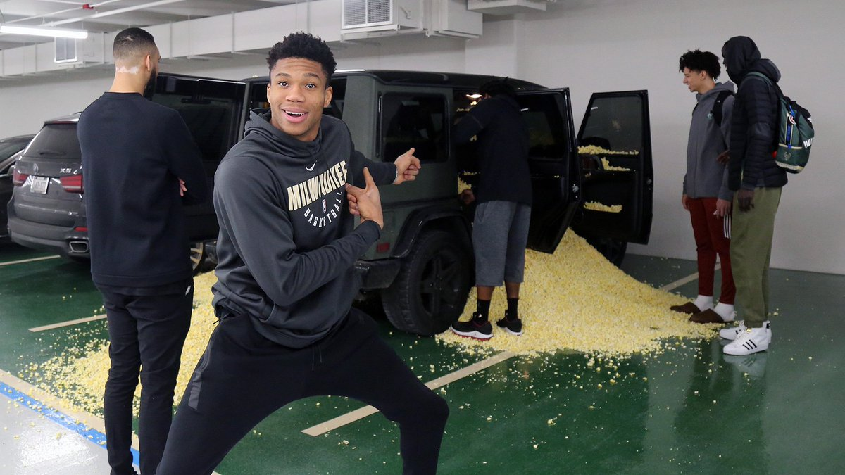 RT @Bucks: 'This is what you get when you don't do your rookie duties!!' - @Giannis_An34 https://t.co/y4verg5dA0