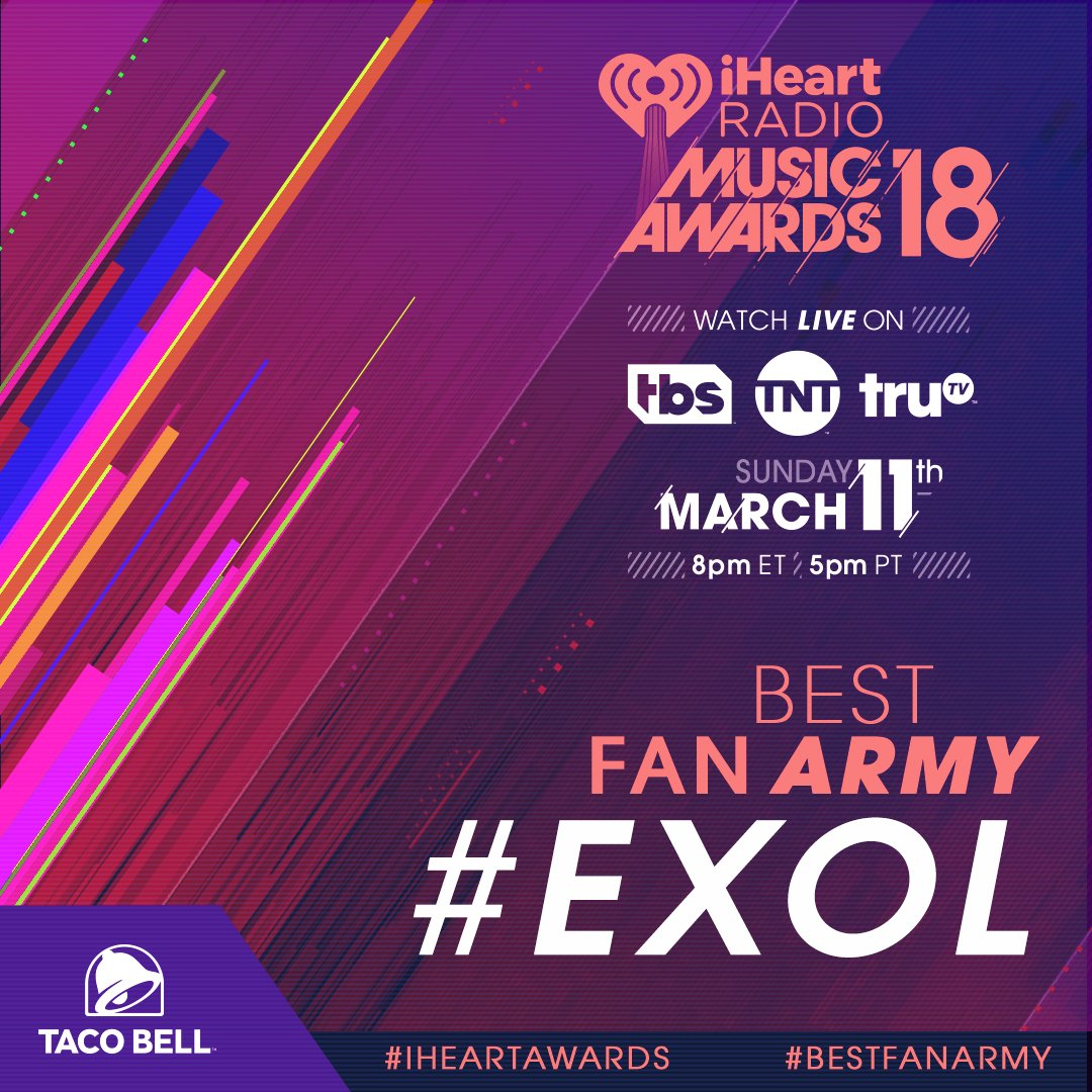 #EXOL is nominated for #BestFanArmy at the 2018 #iHeartAwards! RT to vote for @WeAreOneEXO's crew! @TacoBell #EXO