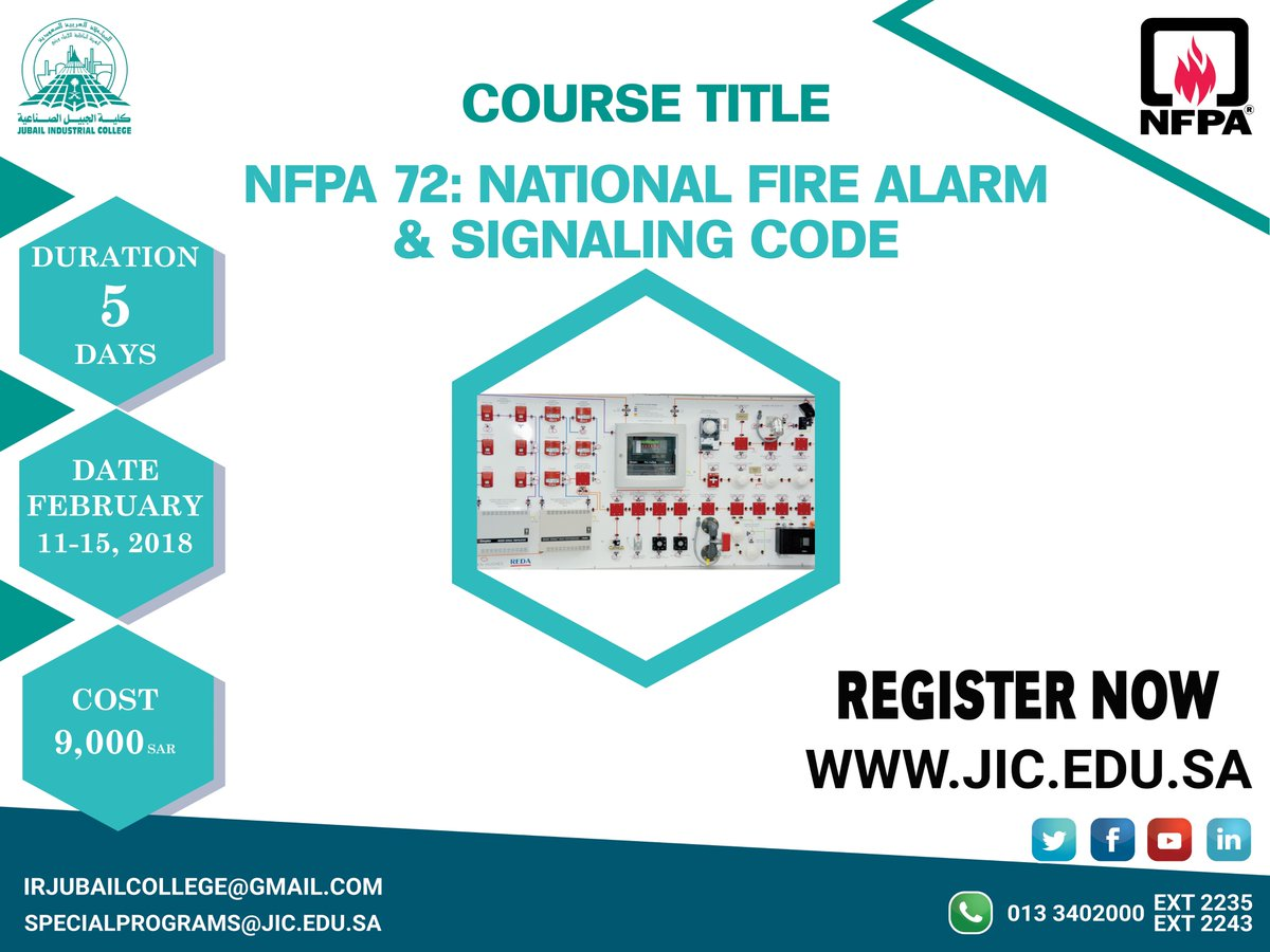 On Twitter Registration Is Now Open For NFPA Course 72 National Fire Alarm Signaling Code Date 11