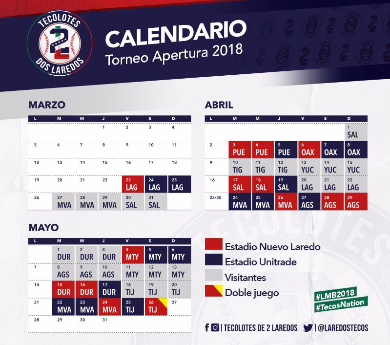 Calendario 2018 Tecolotes