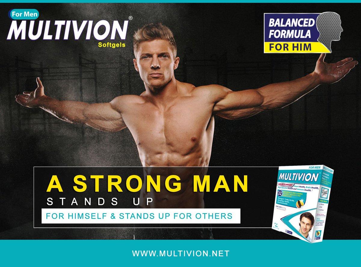 VitanePharma Multivion For Men A Strong Man Stands Up Himself Others Balanced Formula Him