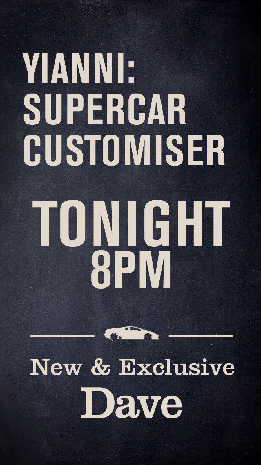 RT @yiannimize: The day has arrived... #yiannisupercarcustomiser https://t.co/A08eUtBS5d