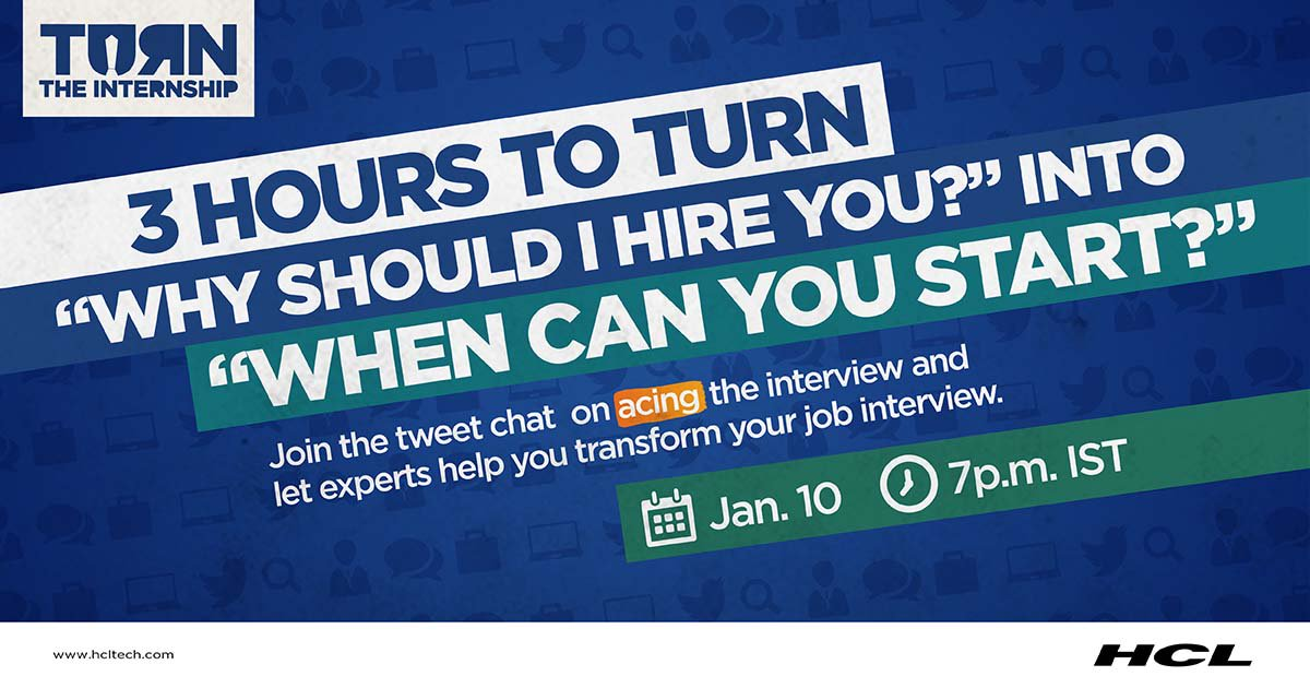Find The Perfect Answer To Tricky Interview Questions. Reach Out To Top  Industry Leaders For Advice As They Take Over @hcltech On Jan 10 At 7 P.m.  IST ...