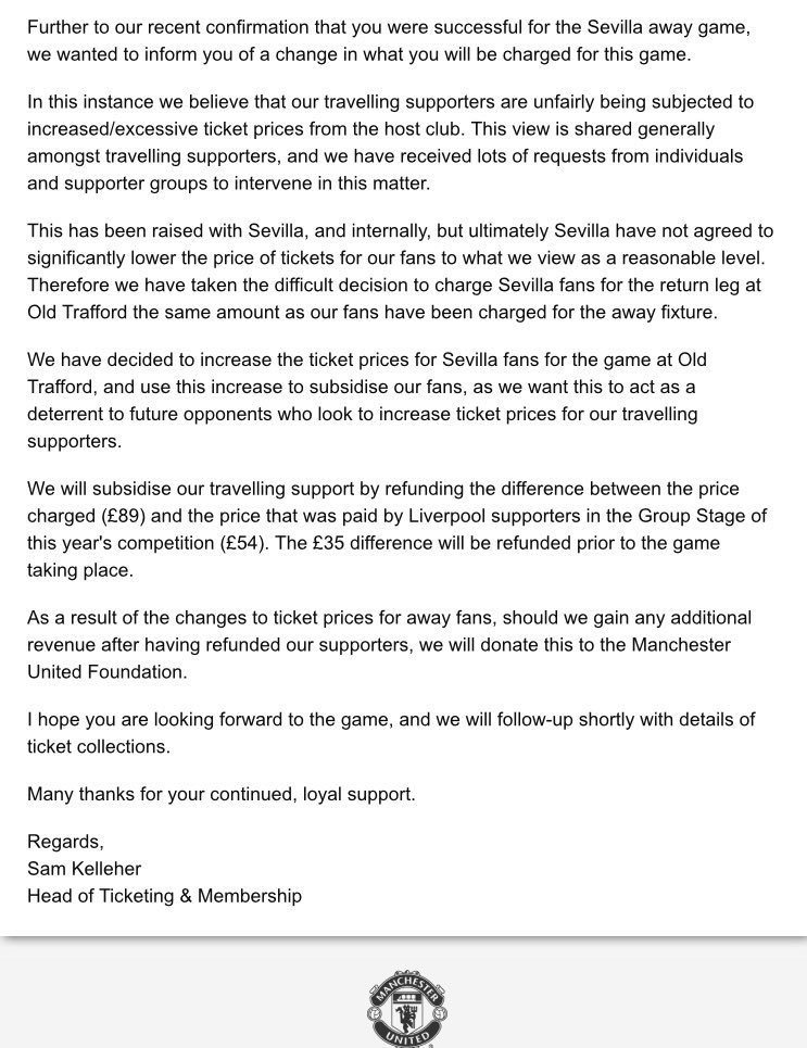 RT @Sporf: CLASS: @ManUtd's response to @SevillaFC increasing ticket prices for United fans. 🔴👏 https://t.co/D0BktKHt83