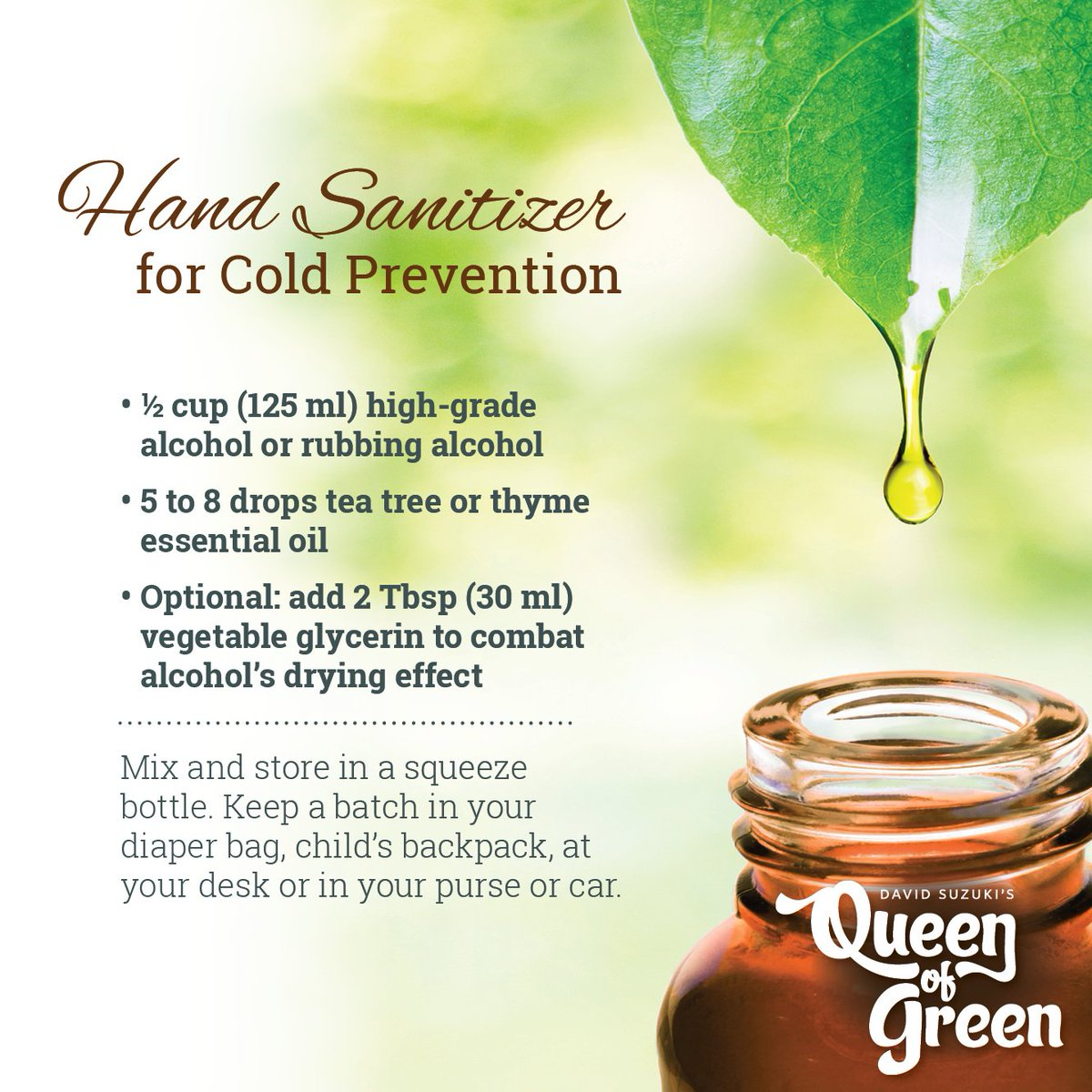 David Suzuki Fdn On Twitter Its Flu Season Protect Yourself From Vegetable Glycerine 125 Ml Germs With This Great Hand Sanitizer Recipe Our Queenofgreen