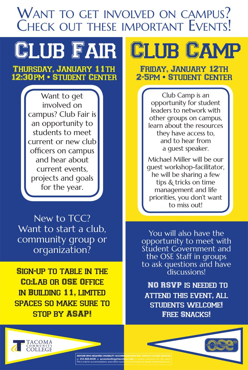 Find or start a student group at Club Fair Thursday at 12:30, and figure  out how those groups can work together for a great student experience at  Club Camp, ...