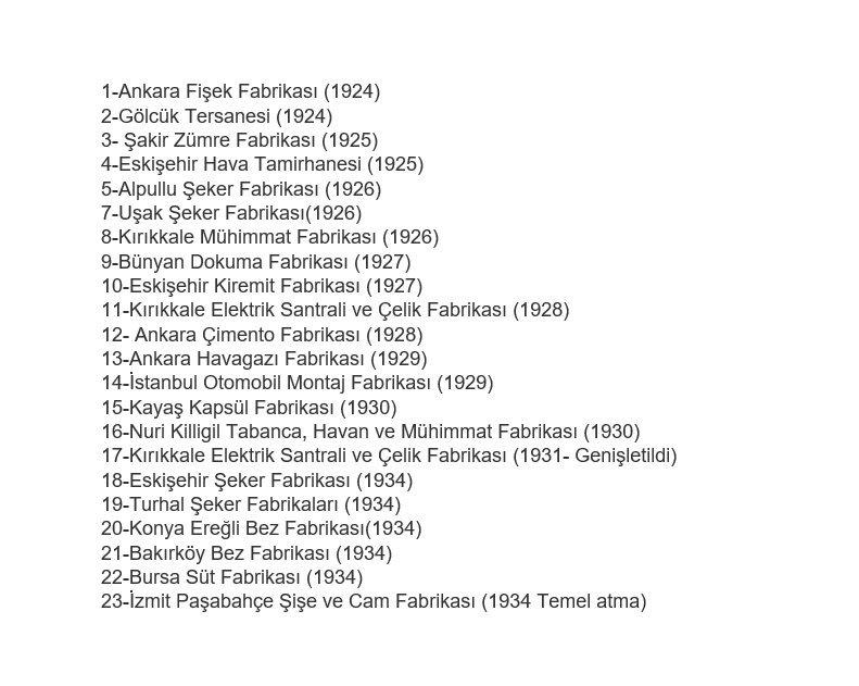 RT @tarihibilgiorg: Mustafa Kemal ATATÜRK'ün 15 yıllık bir süre içerisinde kurduğu fabrikaların listesi... https://t.co/iZ9ITS57hg