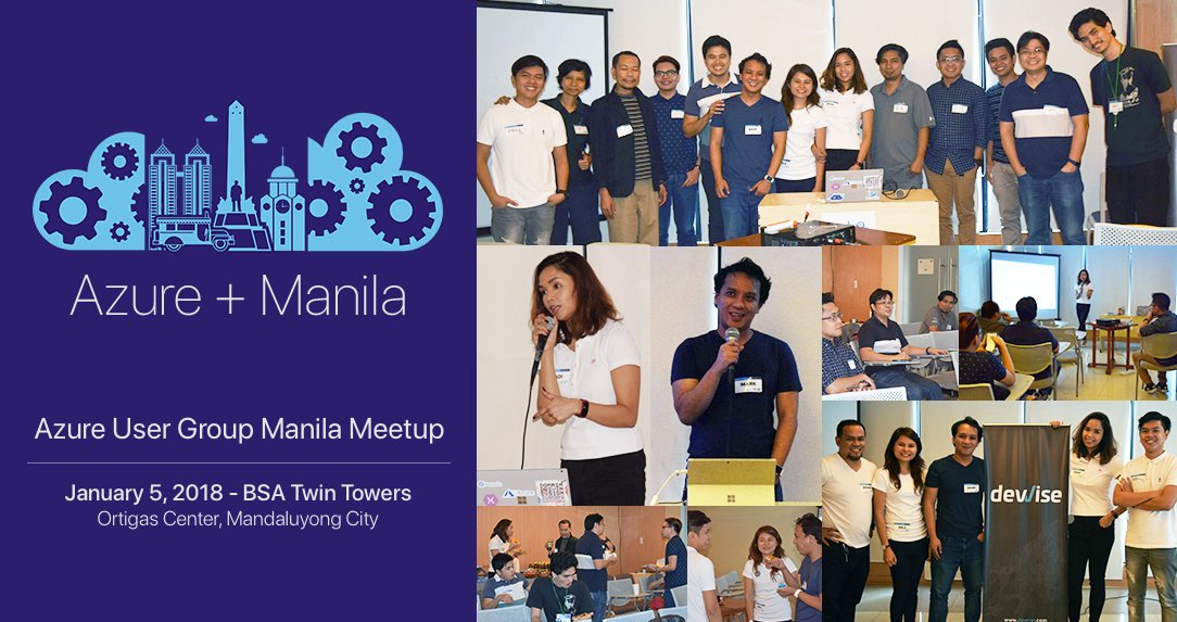 "Marilag Dimatulac on Twitter: ""I just started Azure User Group Manila. Had  so much fun hosting the first meetup. Great way to start 2018  #MSAzureManila #Azure #AzugMnl… https://t.co/UqvzQcImrY"""