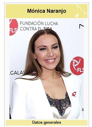 La página de Wikipedia de Mónica Naranjo...