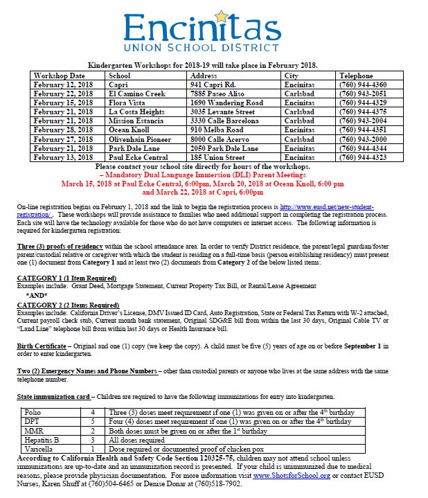 Encinitas union sd on twitter dates for kindergarten workshops 121 pm 10 jan 2018 yelopaper Gallery