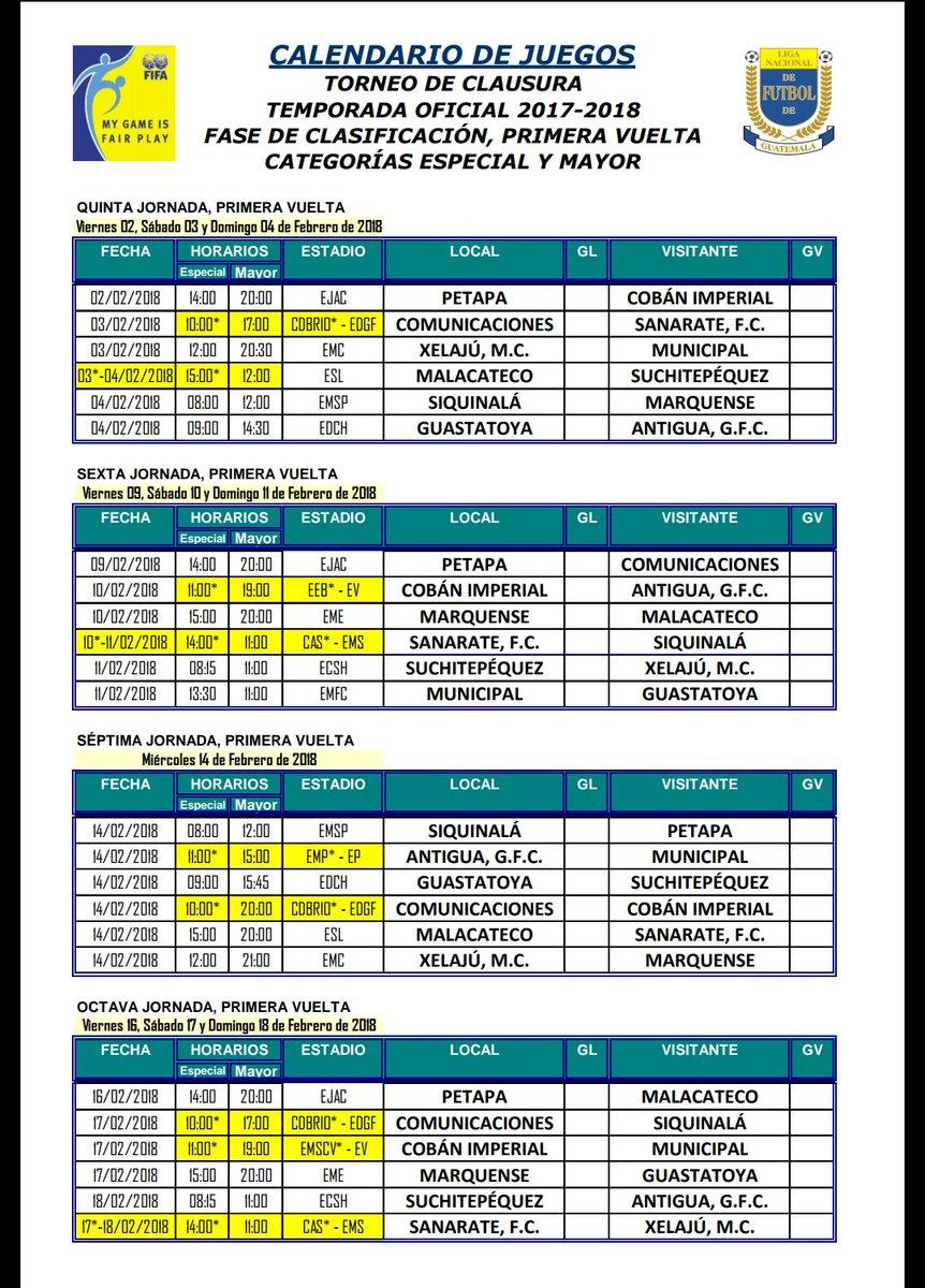 Calendario Primera Division Futbol Guatemala 2019.Calendario Completo Del Torneo Clausura 2018 Antorcha