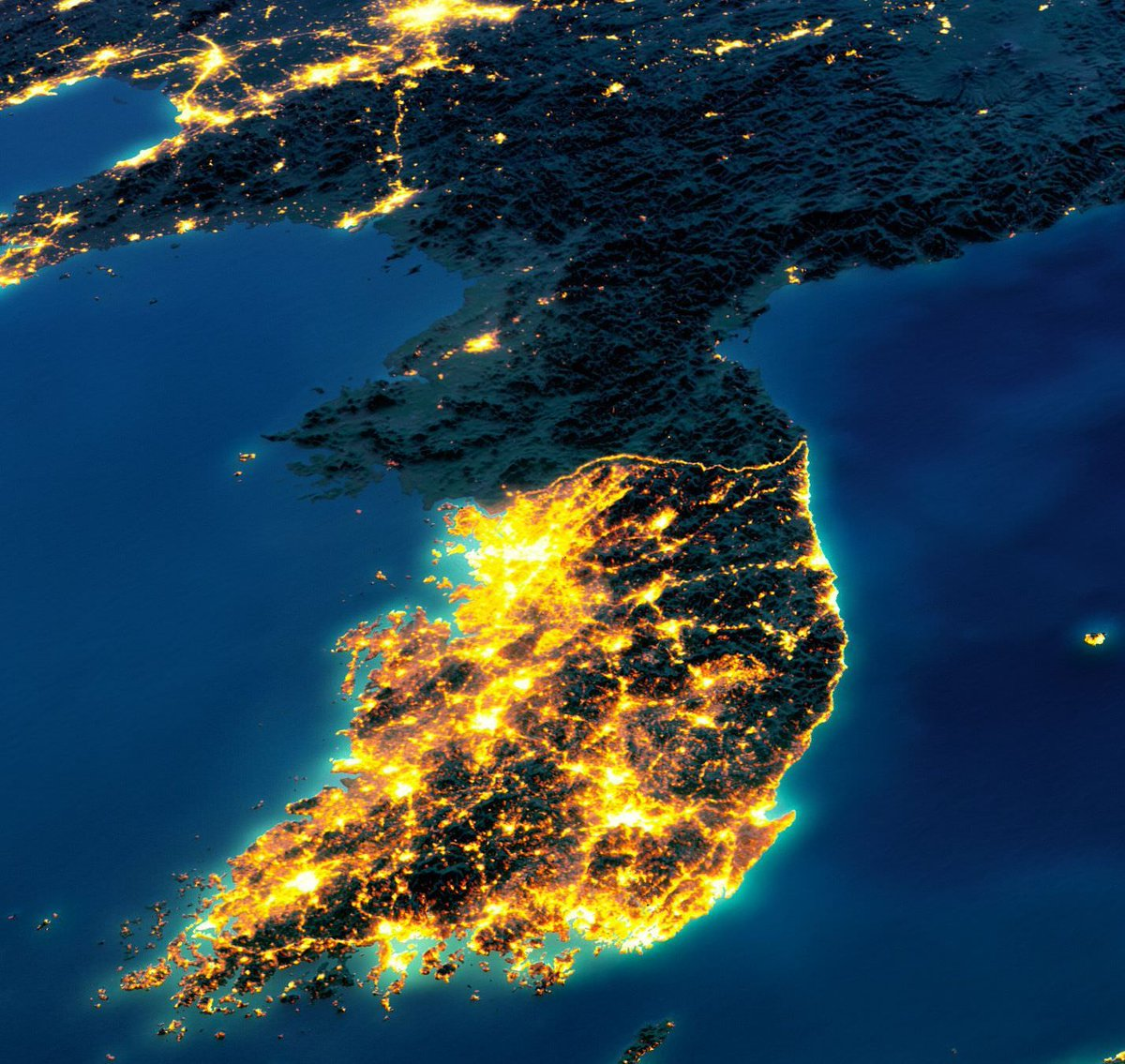Amazing maps on twitter night lights of korea publicscrutiny Gallery