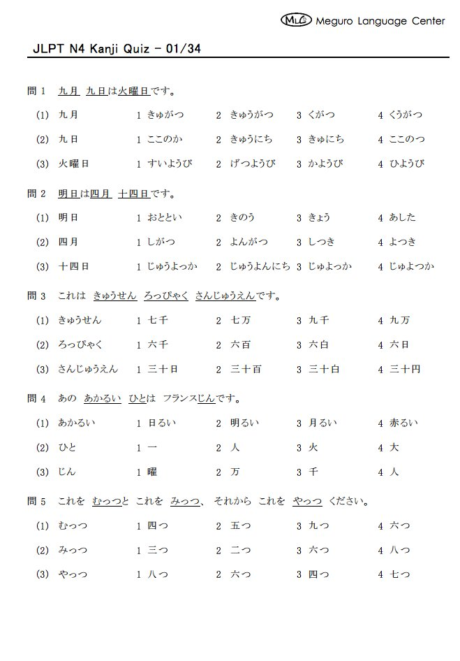 By Photo Congress || Jlpt N4 Kanji List