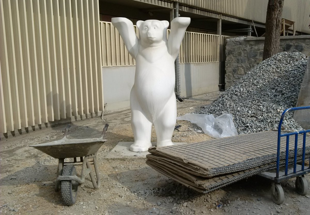 "Our ""Berlin Buddy- Bear"" is supervising the reconstruction efforts while waiting patiently until his home is rebuilt and he can receive a new coat of paint. #GermanyinAFG, #BauBuddy #weareback"