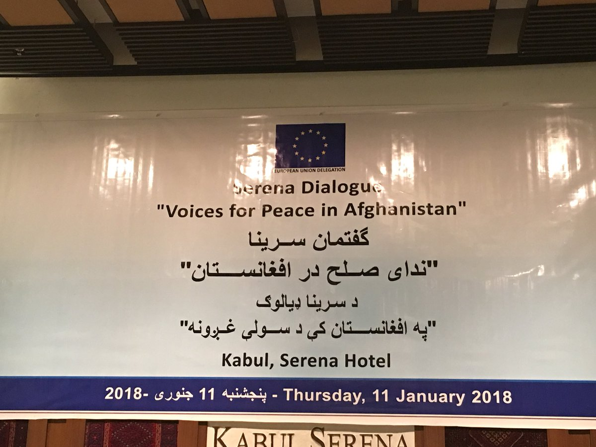In #Kabul at the #EU Dialogue: 'voices for peace in #Afghanistan'. Politics, HPC, journalism, University, Commerce, Diplomacy joined.