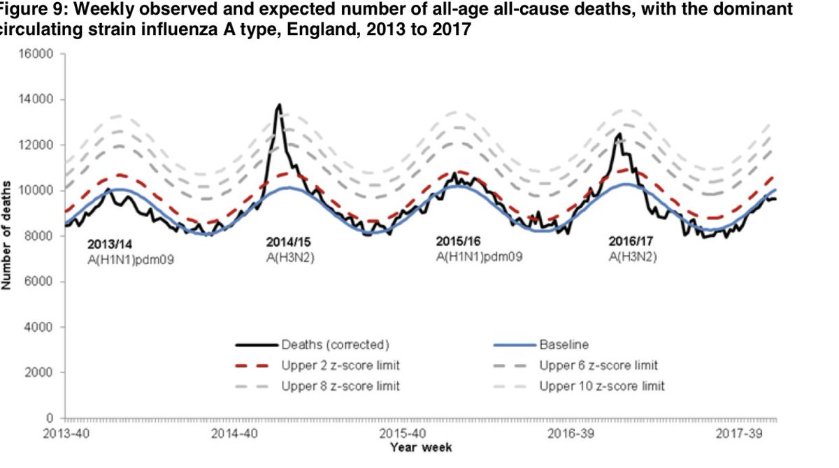 6. They did find 30,000 excess deaths in 2015/16 alone. Again note that year flu season was mild.