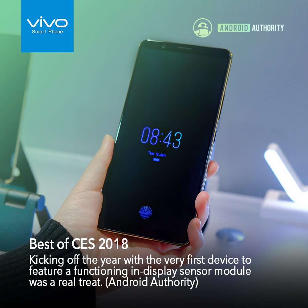 Vivo&#39;s next-gen smartphone with world&#39;s first In-Display Fingerprint Scanning solution gets praise and awards from renowned tech media at the CES 2018.  #Vivo #InDisplay #FingerprintScanning #CES2018<br>http://pic.twitter.com/p493I5c0wl