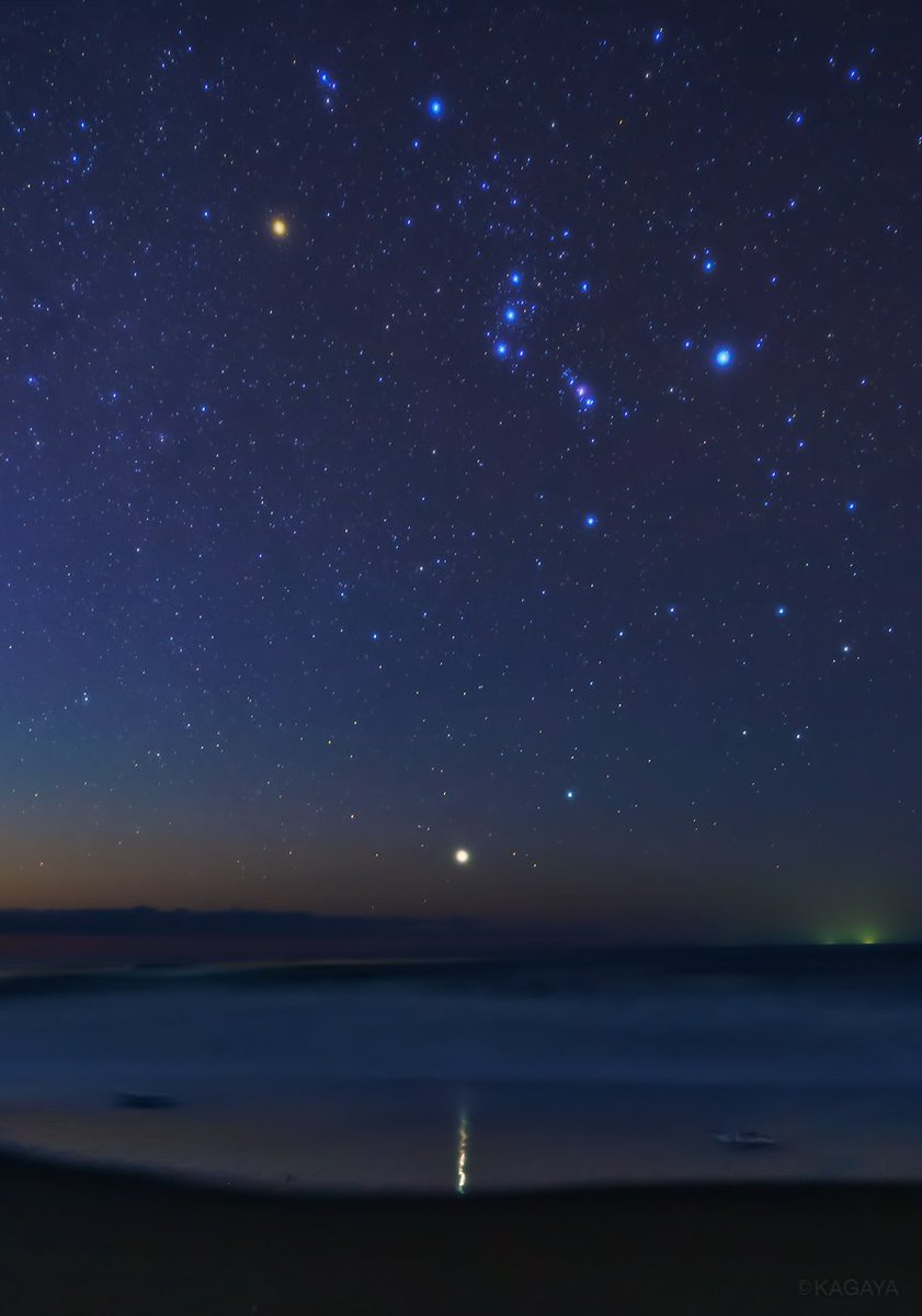 シリウスの道。シリウスが放つ明るい光が浜辺に反射して、海へと誘うようです。写真上はオリオン座です。(先週北海道にて撮影)今日もお疲れさまでした。明日もおだやかな1日になりますように。 pic.twitter.com/YaubgdbYrH