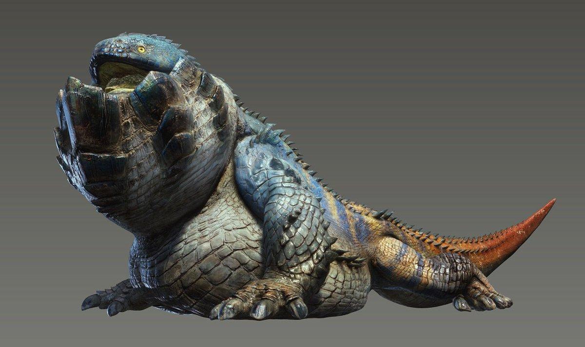 新モンスター「岩賊竜 ドドガマル」のCGイラストがこちら! ドドガマルは唾液の成分を化合させることで爆発性の岩を口内に蓄え、吐き出すことで天敵から身を守る。 #モンハンワールド