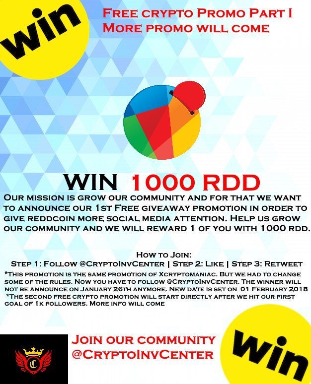 There is more ! Make sure you follow us @CryptoInvCenter and Enter the free  #rdd giveaway promotion. #xvg #vergecoin #bitcoinprice #bitcoin #crypto ...