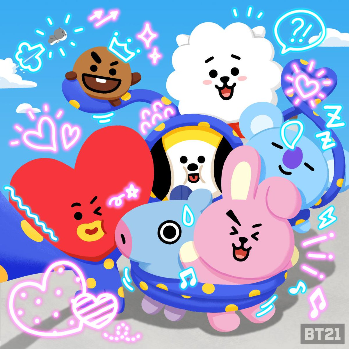 Click! 📸 We are all here ✌️ #BT21 #selfi...