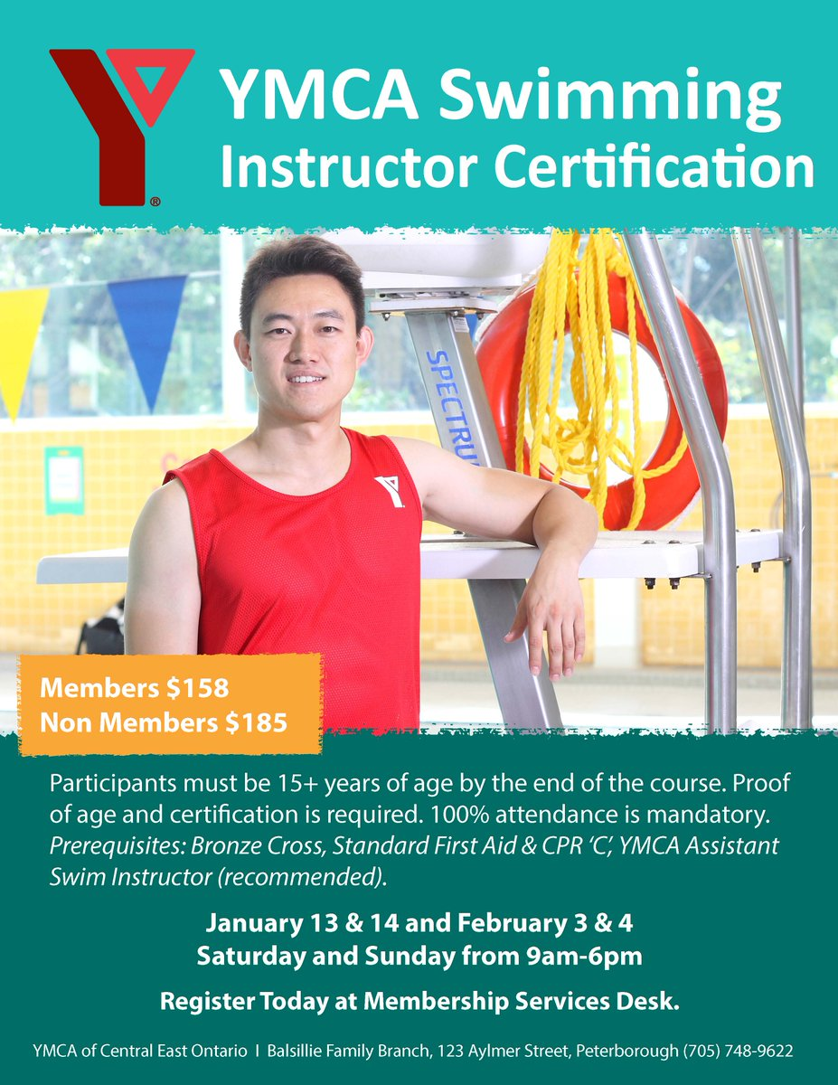 Ymca of peterborough on twitter national lifeguard and ymca swim ymca swim instructors courses start this weekend at the balsillie family branch details on page 31 of the program guide httpowle3zi30hfzxo xflitez Gallery