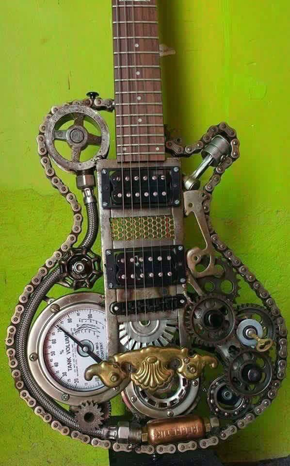 #Steampunk-ish Awesome of the Day: Customized #Guitar with #Bike Chain Gauge Tube Gears and Cogs via @shooteyeout #SamaGuitars