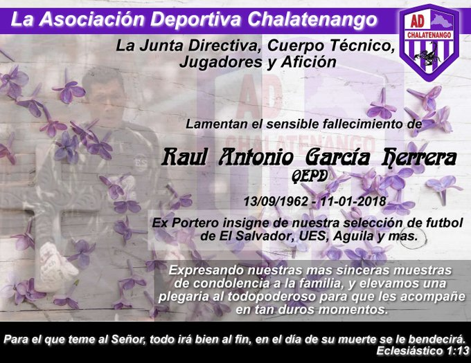 Fallecio Raul Antonio Garcia 1962-2018. DTR6zEIUQAAI2Ax