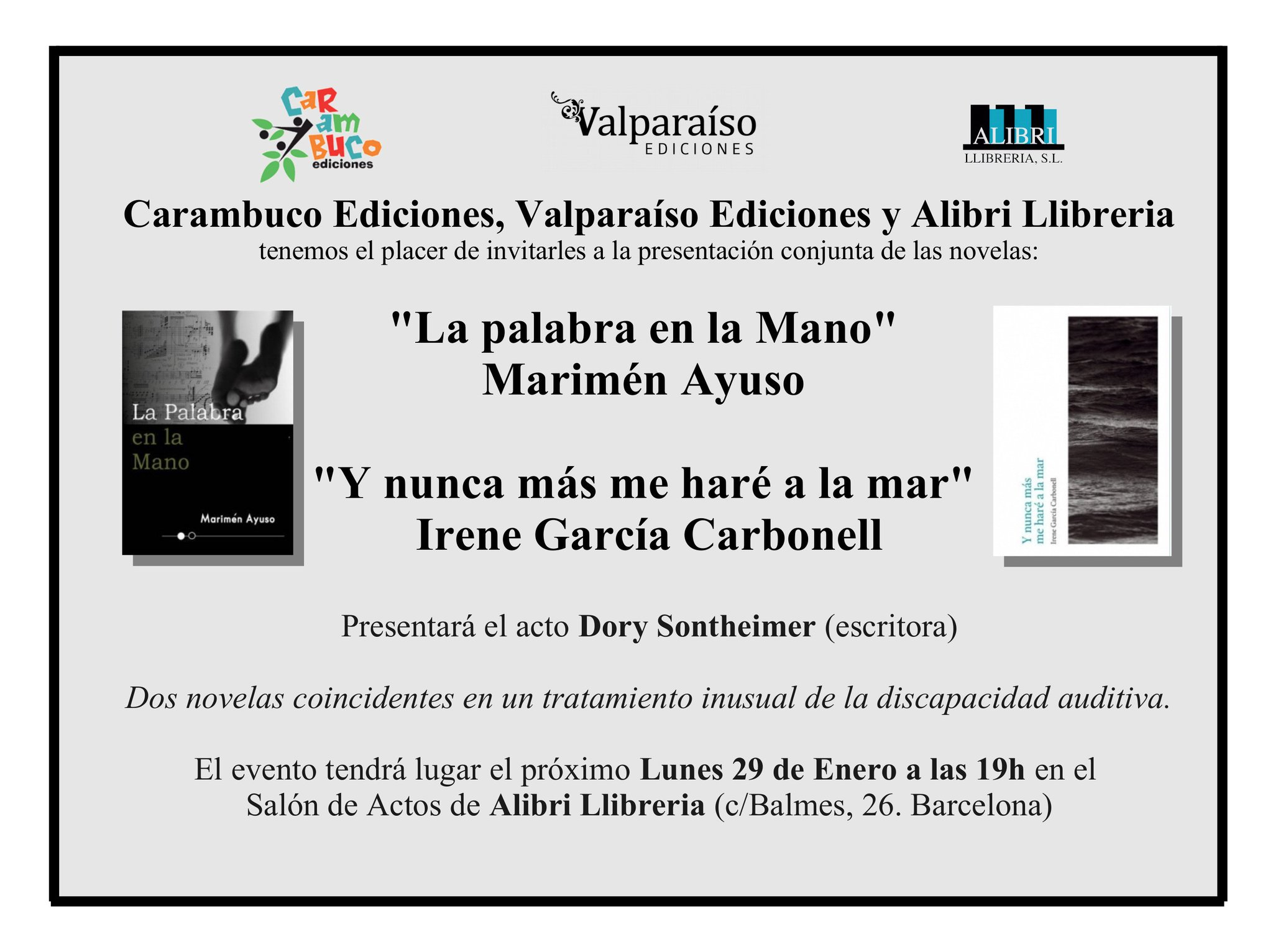 """Presentación: """"La Palabra en la Mano"""" y """"Y Nunca Más Me Haré a la Mar"""" el 29 ene., Barcelona. DTRFkD-X4AE3bdZ"""