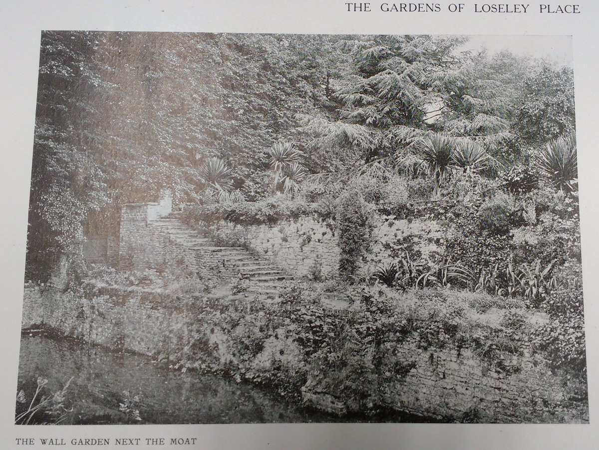 """#ThrowbackThursday We're still enjoying the article from the 1911 @ArchReview The author writes """"The long line of the moat with its wall and perforated parapet introduces an element of order and repose"""".  We don't think its changed much in 107 years! #loseleypark #archivepictures"""