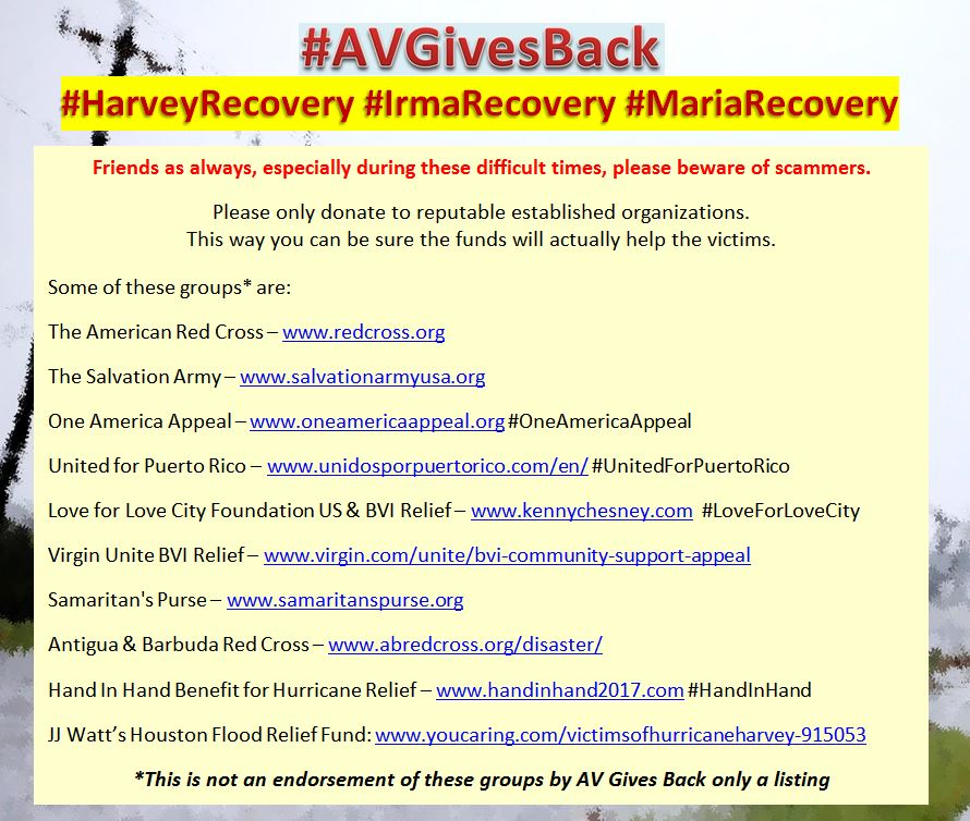 #AVTweeps the storms may be over, but the recovery will take years. If you are looking for places to possibly donate to this winter here&#39;s a short list of places still helping those recovering from #HarveyRecovery #IrmaRecovery #MariaRecovery #AVGivesBack  <br>http://pic.twitter.com/WtDBMQ8MCv