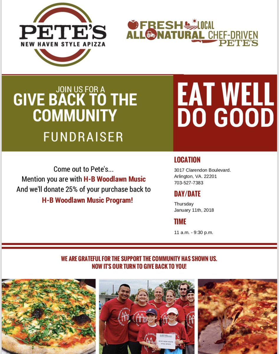 Hungry?  Go to Pete's Apizza in Clarendon any time today (dine in and carry out).  They are giving 25% of net proceeds to <a target='_blank' href='http://twitter.com/hbwmusic'>@hbwmusic</a> <a target='_blank' href='http://search.twitter.com/search?q=lovehb'><a target='_blank' href='https://twitter.com/hashtag/lovehb?src=hash'>#lovehb</a></a> <a target='_blank' href='https://t.co/aaiauRj5LM'>https://t.co/aaiauRj5LM</a>
