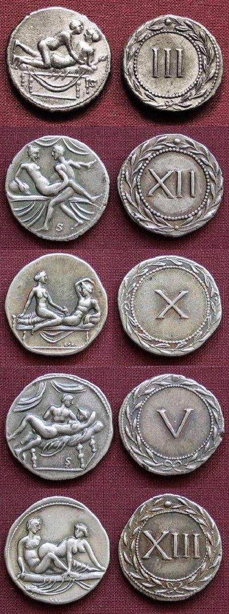 古代ローマには性的サービスの支払い専用貨幣(と推察されるコイン)が存在したそうで…。これを出すとコインに書いてあるサービスが提供されたということだろうか。凄いとしか言いようがないな古代ローマ。