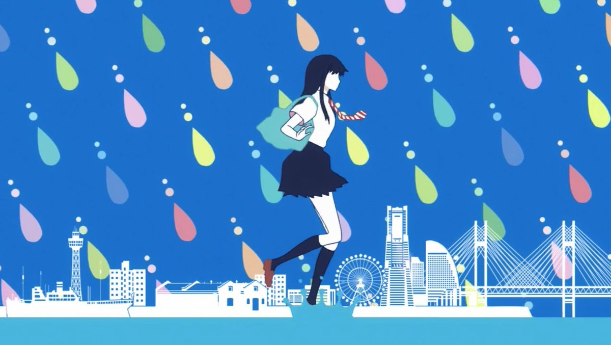 カラフルな雨が降っている中を走っている橘あきらの『恋は雨上がりのように』の壁紙